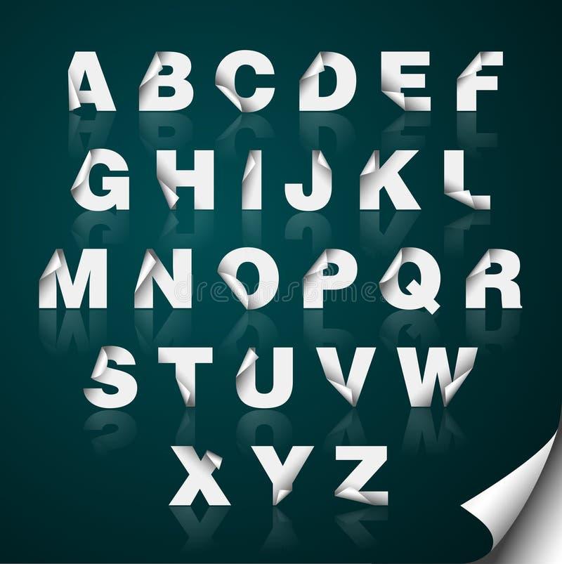 Het gevouwen Alfabet van het Document van de Rand royalty-vrije illustratie
