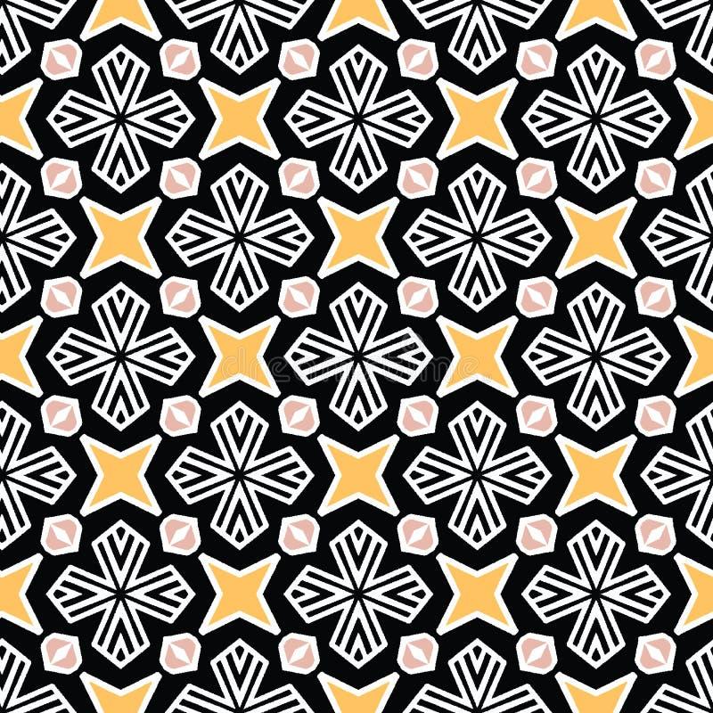 Het gewaagde hand getrokken dekbed van de sterbloem Vectorpatroon naadloze achtergrond Symmetrie geometrische abstracte illustrat stock illustratie