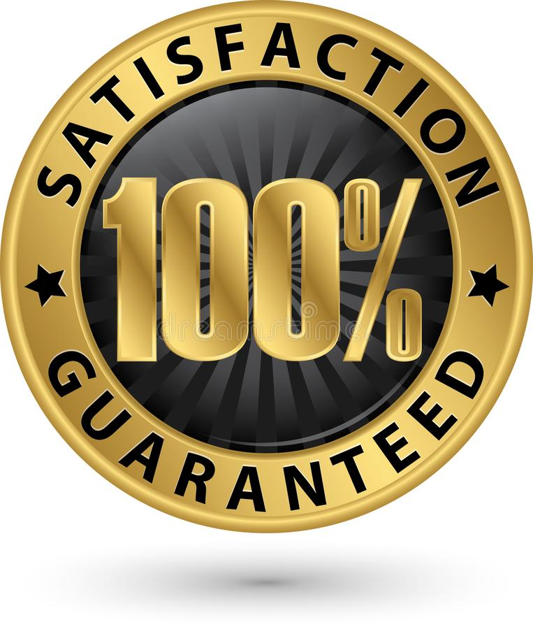 het gewaarborgde gouden teken van de 100 percentenklant tevredenheid met ri royalty-vrije illustratie