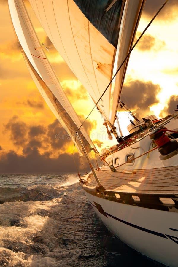Het gewas van de zeilboot tijdens de regatta royalty-vrije stock afbeelding