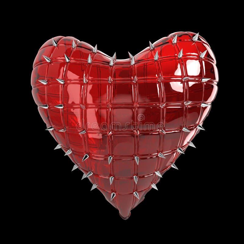 het gewatteerde hart met zilveren, kroezig metaal, staalaren op oppervlakte, isoleerde het zwarte teruggeven als achtergrond BDSM stock foto