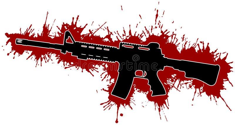 Het Geweer van de aanval & Bloedvlekken vector illustratie