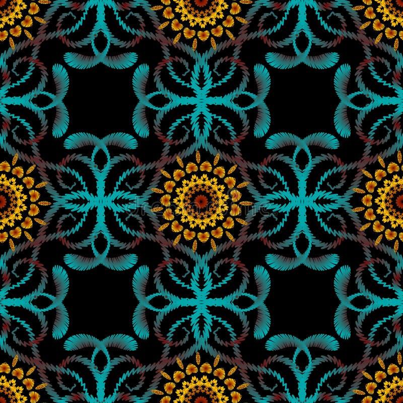 Het geweven vector naadloze patroon van tapijtwerk bloemenpaisley Kleurrijke siergrungeachtergrond Borduurwerkhand getrokken bloe royalty-vrije illustratie
