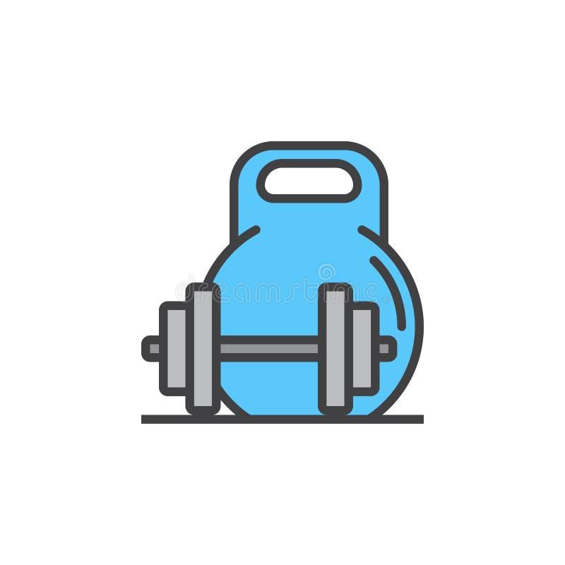 Het gewicht en barbell voert pictogram, gevuld overzichts vectorteken, lineair kleurrijk pictogram dat op wit wordt geïsoleerd stock illustratie