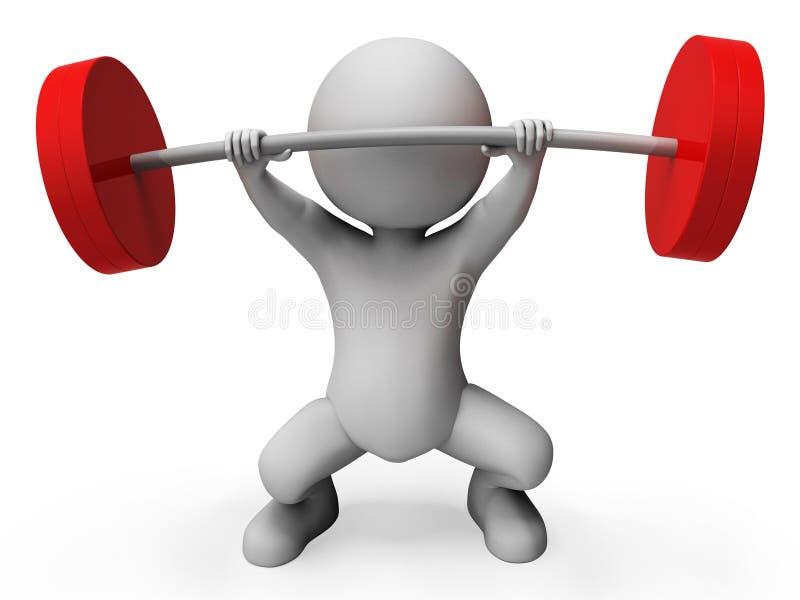 Het gewichtheffen vertegenwoordigt Barklok en het Atletische 3d Teruggeven vector illustratie