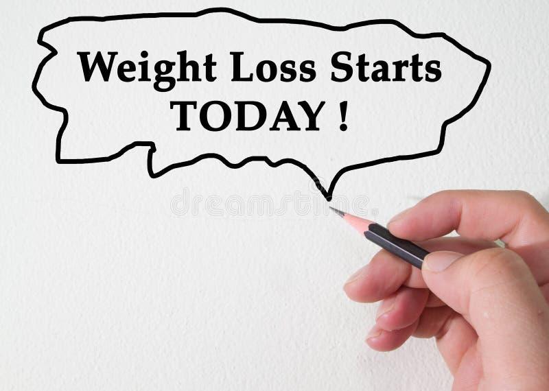 Het gewichtsverlies begint VANDAAG concept stock foto's
