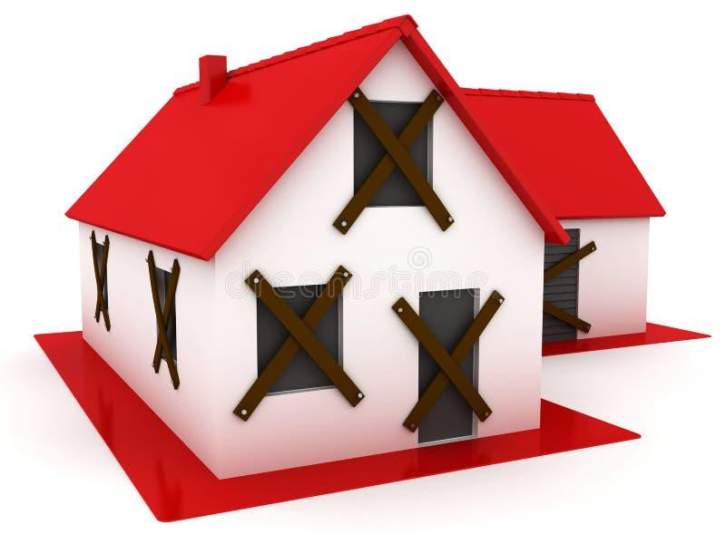 Het geworpen huis met rood dak stock illustratie