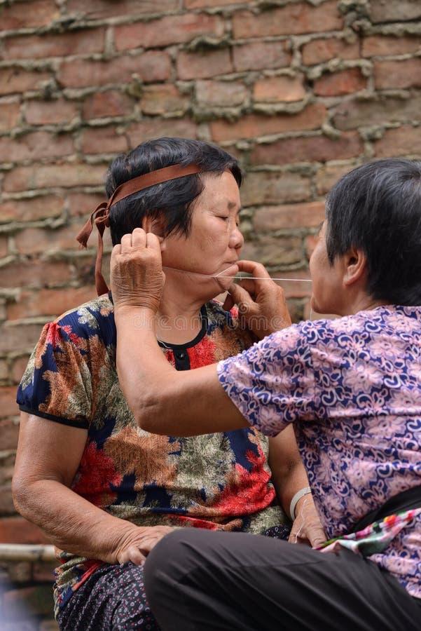 Het gezellig ouderwetse Chinese dorps gezichts landelijke leven stock afbeelding