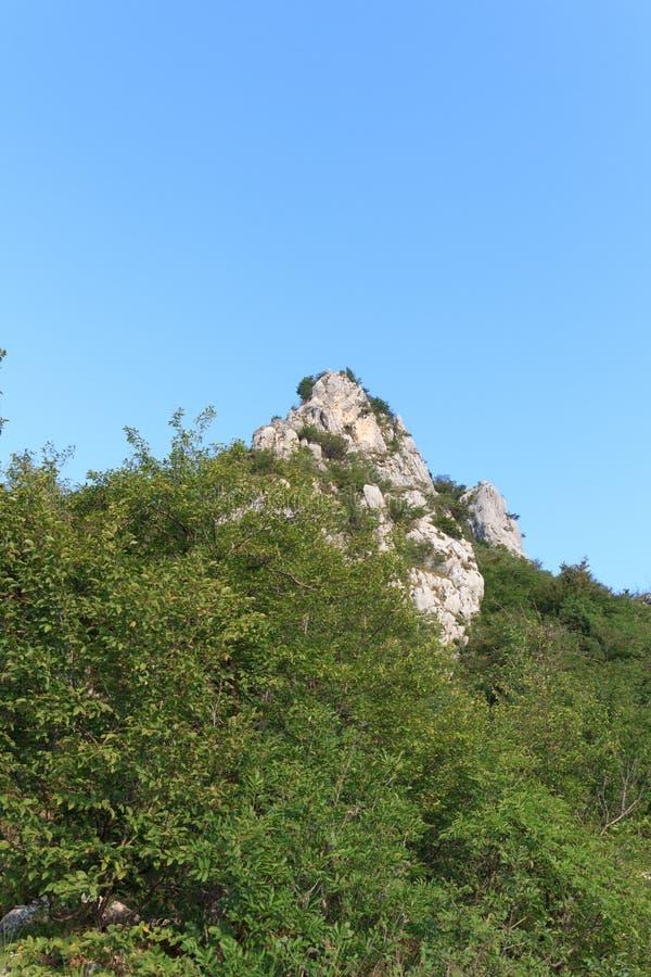 Het GEZETEN panorama van de bergtop Cima dichtbij Riva del Garda stock fotografie