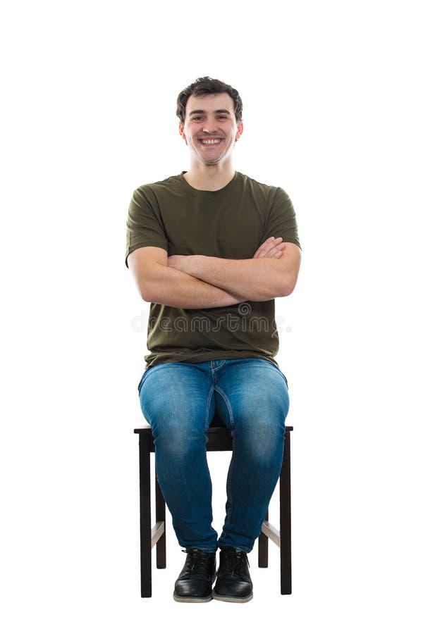 Het gezette mens glimlachen stock foto's