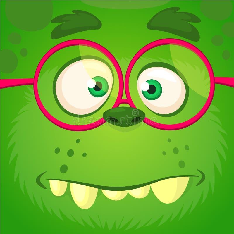 Het gezicht die van het beeldverhaalmonster oogglazen dragen Vector grappige groene slimme het monster vierkante avatar van Hallo vector illustratie