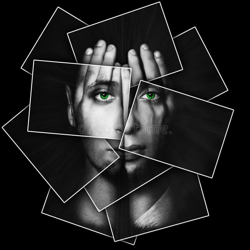 Het gezicht glanst door handen, wordt het gezicht verdeeld in vele delen door kaarten, dubbele blootstelling stock afbeelding