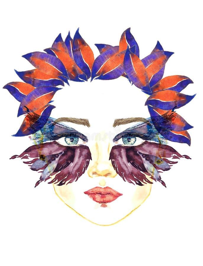 Het gezicht met blauwe feeogen met make-up, blauwe en donkere purpere vleugels van vlinder vormt oogschaduw, mollige lippen, bloe royalty-vrije illustratie