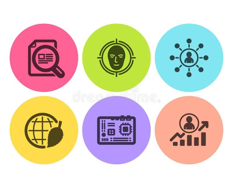 Het gezicht ontdekken, Voorzien van een netwerk en Controle geplaatste artikel de pictogrammen Van de milieudag, Motherboard en C stock illustratie