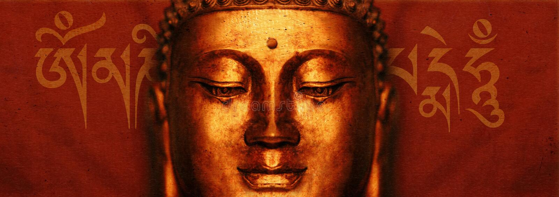 Het Gezicht van Boedha met Mantra royalty-vrije illustratie