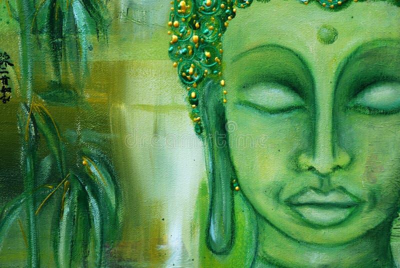 Het gezicht van Boedha op groen stock foto