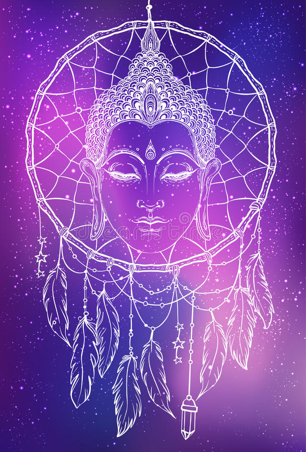 Het gezicht van Boedha over dreamcatcher om patroon Esoterische uitstekende ve vector illustratie