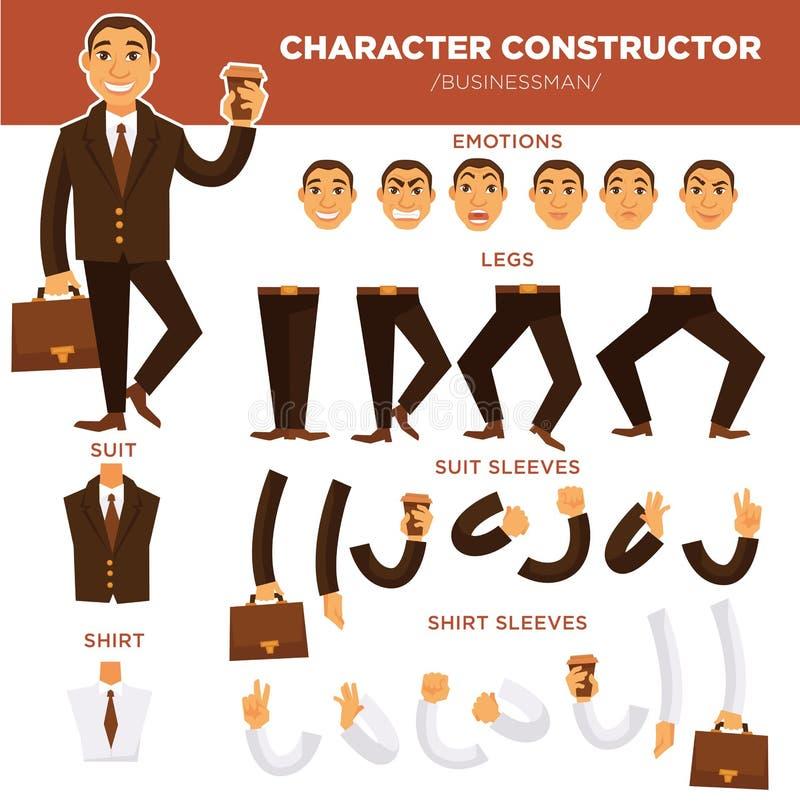 Het gezicht van de de aannemerszakenman van het mensenkarakter, geplaatste de malplaatjes vectorpictogrammen van kostuumkleren royalty-vrije illustratie