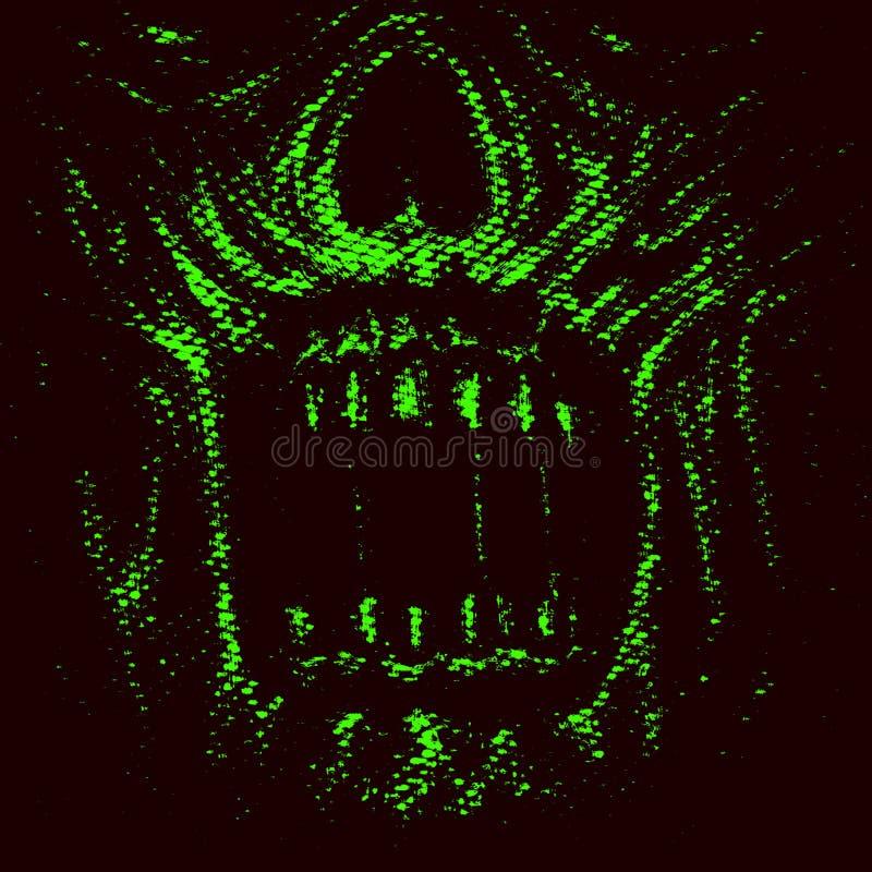 Het gezicht van de abstractiezombie Groene Kleur vector illustratie