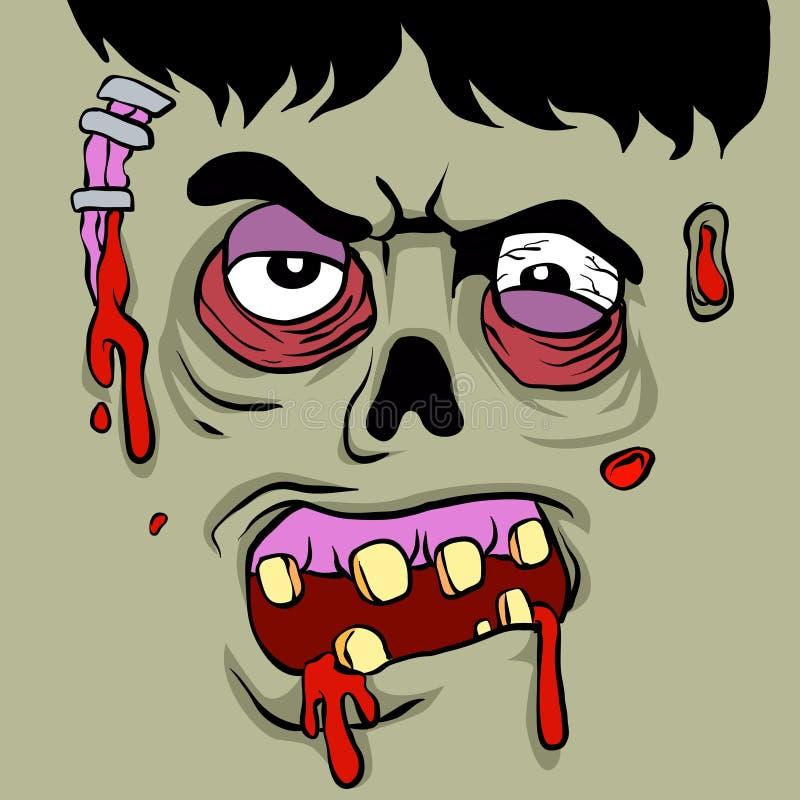 Het gezicht van de beeldverhaalzombie vector illustratie