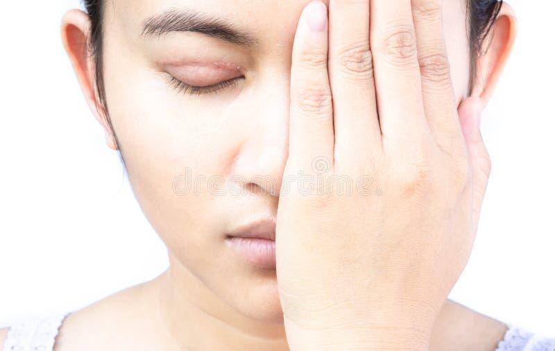 Het gezicht van de close-upvrouw met ooglidchirurgie, gezonde en schoonheidsconce royalty-vrije stock foto's
