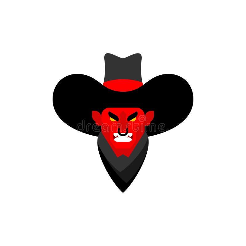 Het gezicht van de demoncowboy De duivel van Wilde Westennen gunfighter Boze Westelijke daemon vector illustratie