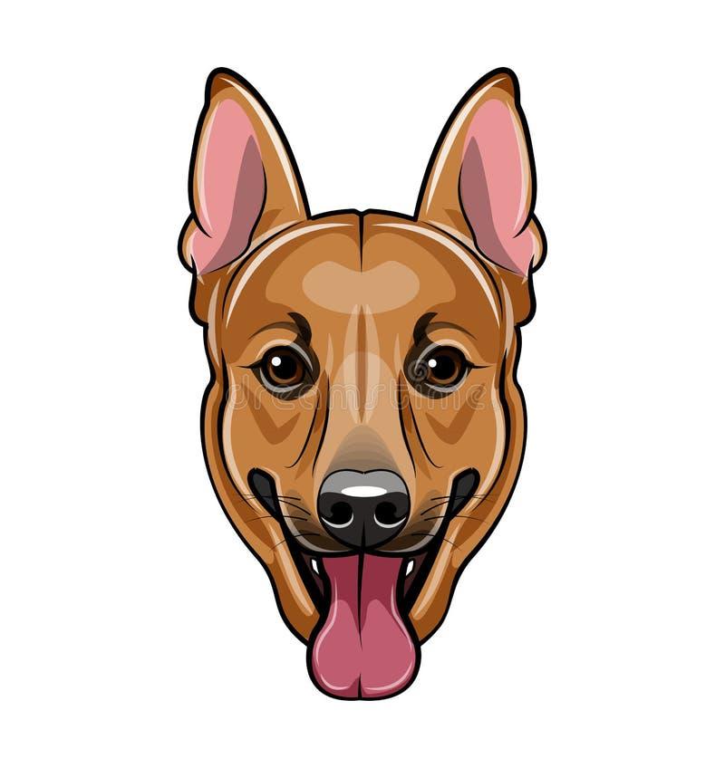 Het gezicht van de Duitse herderhond Beeldverhaal vectordieillustratie op wit wordt geïsoleerd vector illustratie