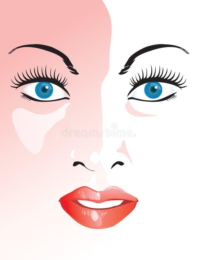 Het gezicht van de het meisjesclose-up van de schoonheid vector illustratie