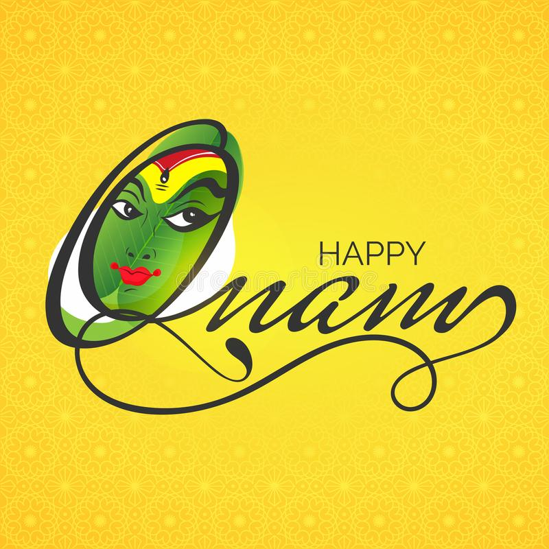 Het gezicht van de Kathakalidanser met modieuze teksten Gelukkige Onam op gele overzees vector illustratie