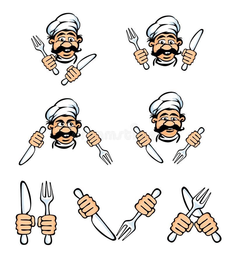 Het gezicht van de kok met mes en vork royalty-vrije illustratie