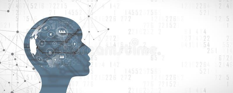Het gezicht van de kunstmatige intelligentievrouw met sociale netwerkconection Al wereld in haar hersenen vector illustratie