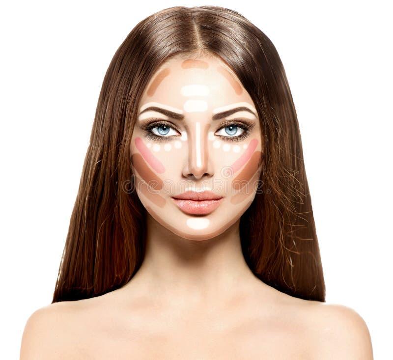 Het gezicht van de make-upvrouw stock foto's