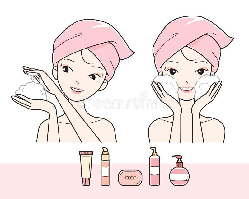 Het Gezicht van de meisjeswas met Schuim vector illustratie