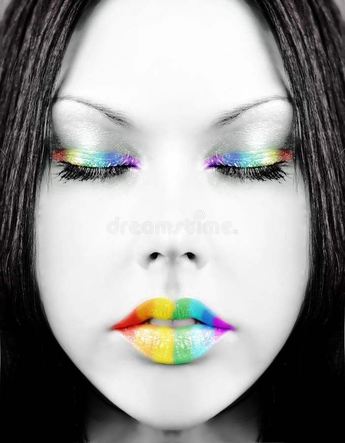 Het gezicht van de regenboog stock fotografie