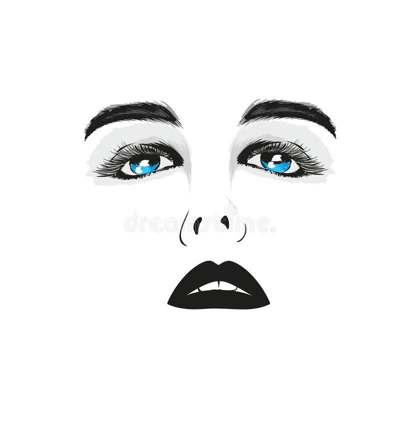 Het Gezicht van de schoonheidsvrouw, Mooi Meisjesportret stock illustratie