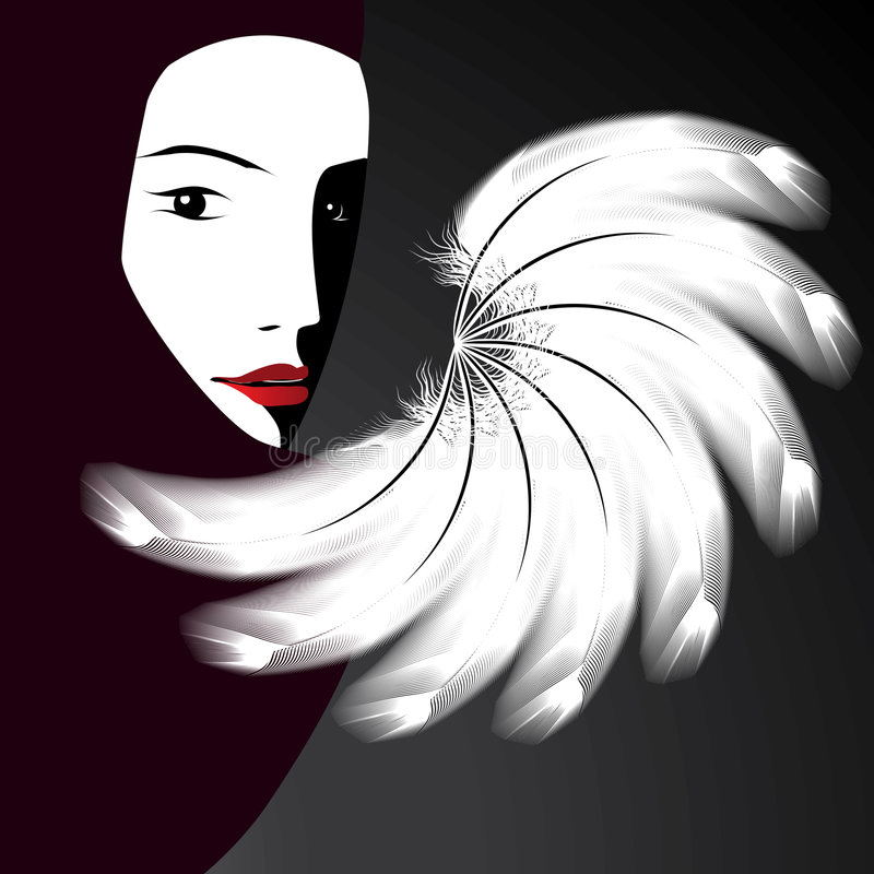 Het gezicht van de ventilator en van een vrouw royalty-vrije illustratie