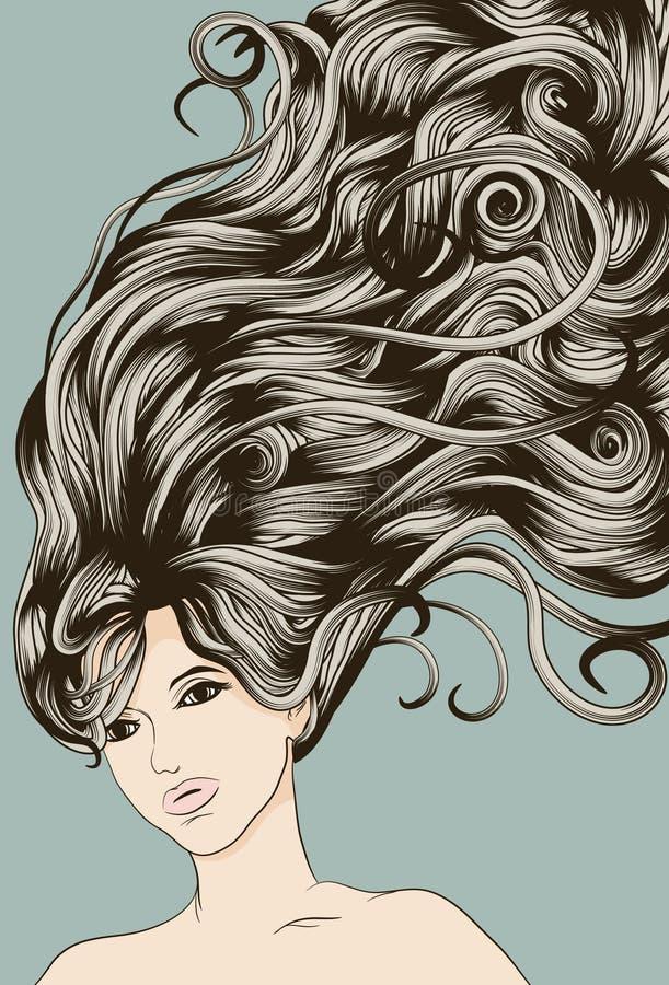 Het gezicht van de vrouw met lang gedetailleerd stromend haar royalty-vrije illustratie