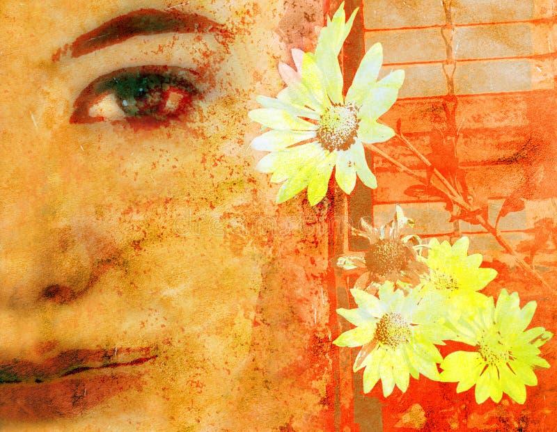 Het gezicht van de vrouw op grunge stock illustratie