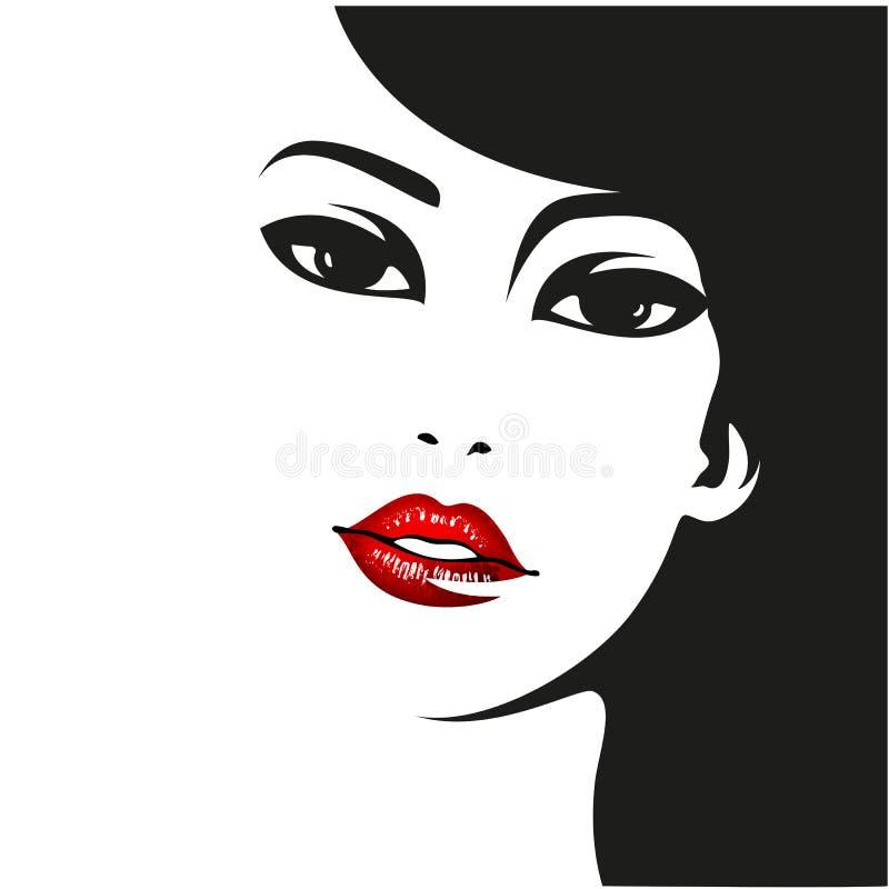 Het gezicht van de vrouw Vectormanierportret stock illustratie