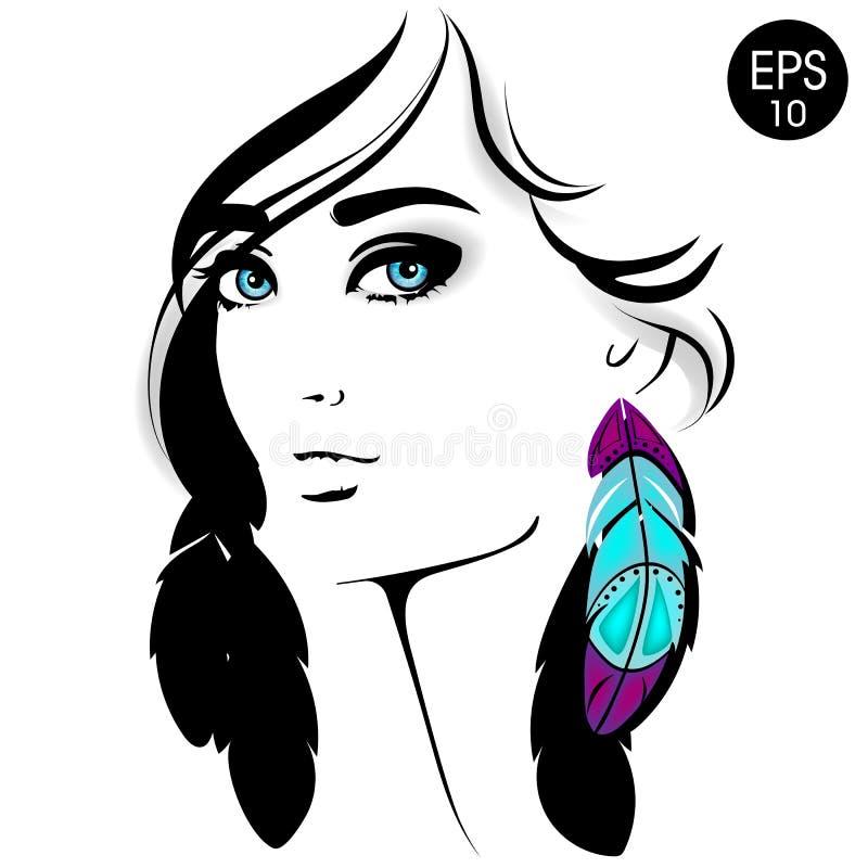 Het gezicht van de vrouw Vectormanierportret van mooi meisje met blauwe ogen en kleurenveer royalty-vrije illustratie