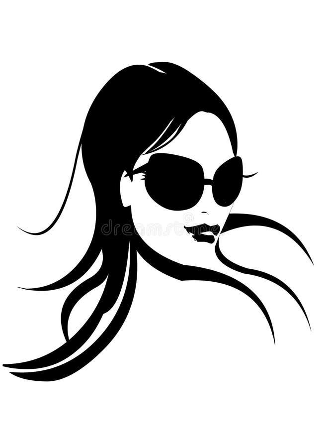 Het Gezicht van de vrouw in Zwart & Wit royalty-vrije illustratie