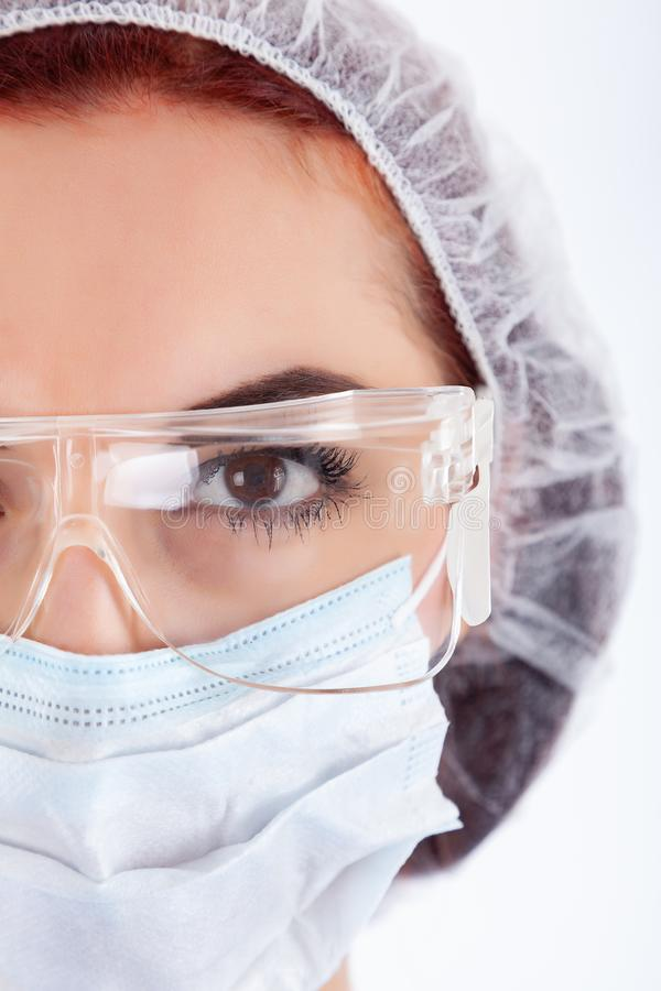 Het Gezicht van de vrouwelijke Chirurg stock fotografie