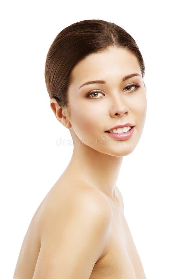 Het Gezicht van de vrouwenschoonheid, Mooi Modelnatural makeup girl-Portret stock fotografie