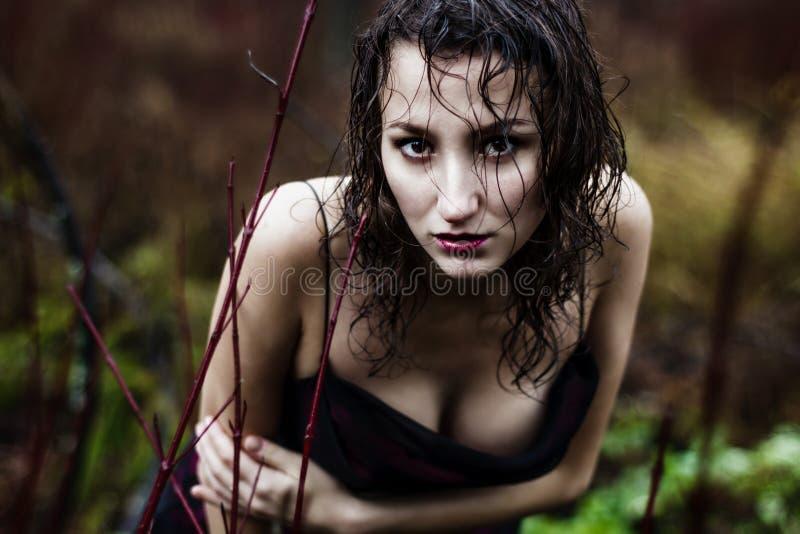 Het gezicht van de wilde vrouw onder regen stock foto's