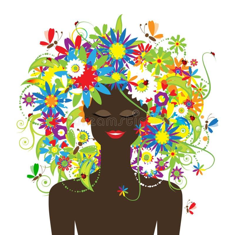 Het gezicht van de zomer, vrouw met bloemen mooi kapsel stock illustratie