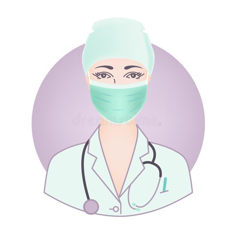 Het gezicht van een jonge vrouw arts, in een masker, GLB, robe, medische eenvormig met een stethoscoop royalty-vrije illustratie