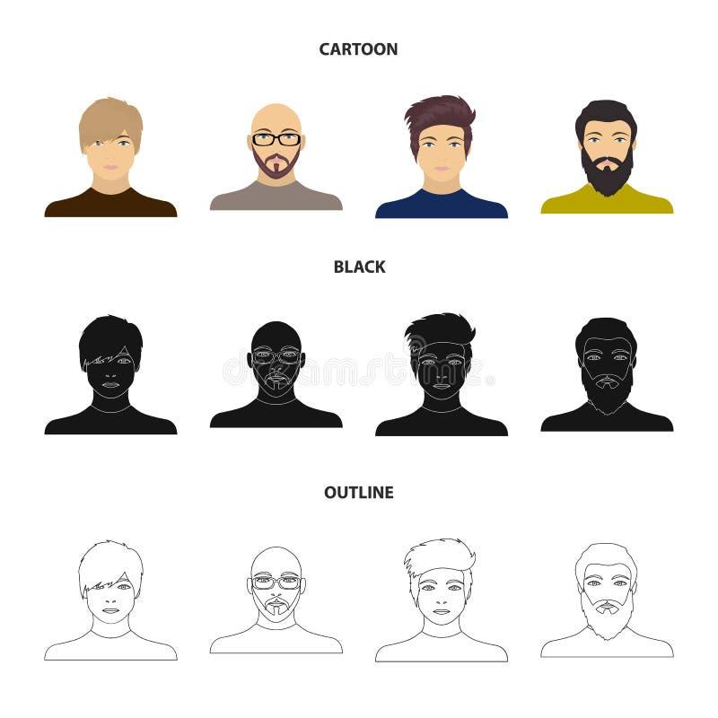 Het gezicht van een Kale mens met glazen en een baard, een gebaarde mens, de verschijning van een kerel met een kapsel Gezicht en vector illustratie