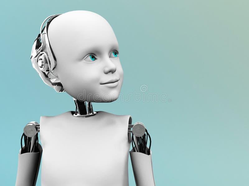 Het gezicht van een kindrobot. stock illustratie