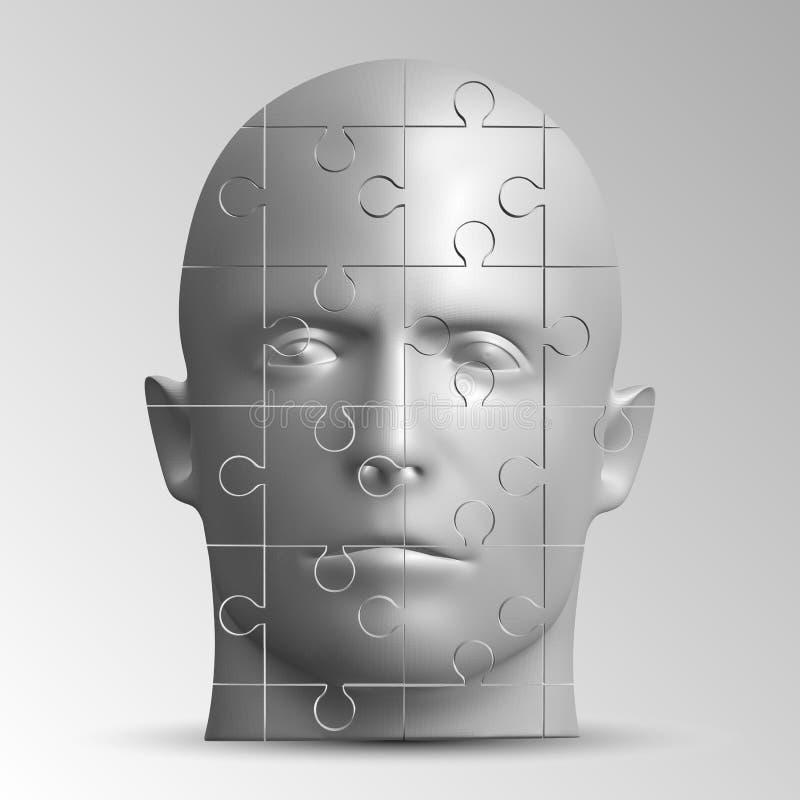Het gezicht van een mens die uit een raadsel bestaan Vectorillustratie van een logische taak royalty-vrije illustratie