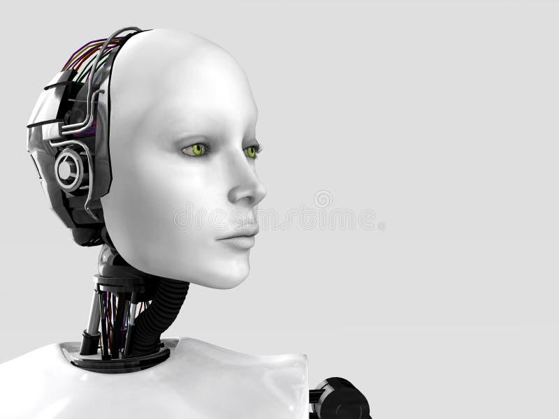 Het gezicht van een robotvrouw. stock illustratie